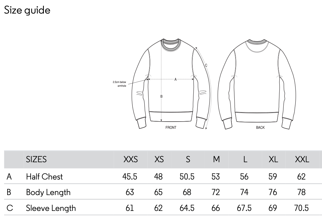 size guide Amsterdam Genetics sweater